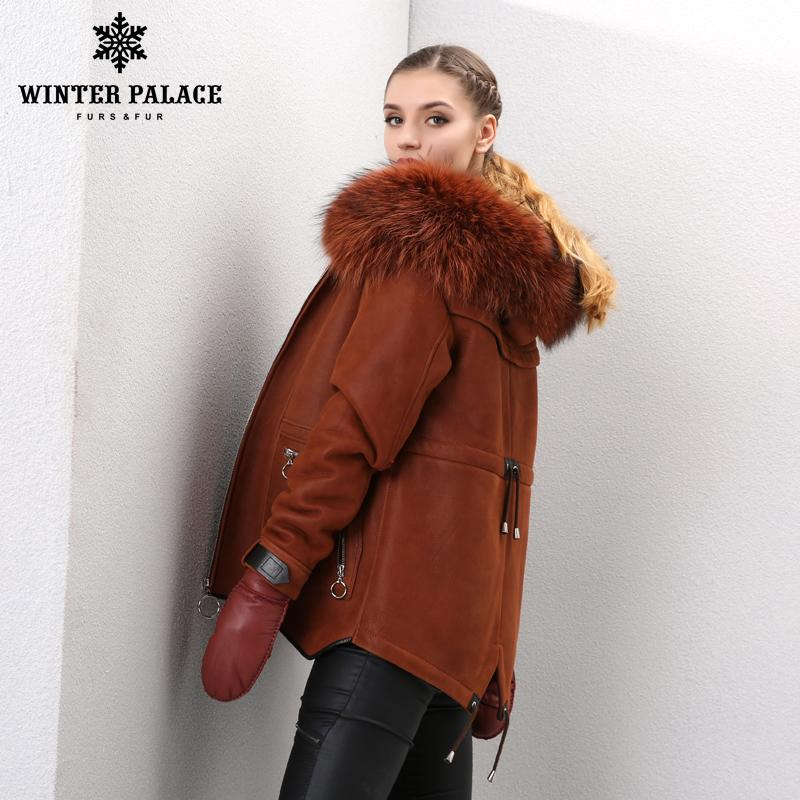 69492172a classic woman Shearling coat Hoode Sheepskin coat Fashion Fur coat Orange  Colour Winter fur coat Fox fur Cap collar