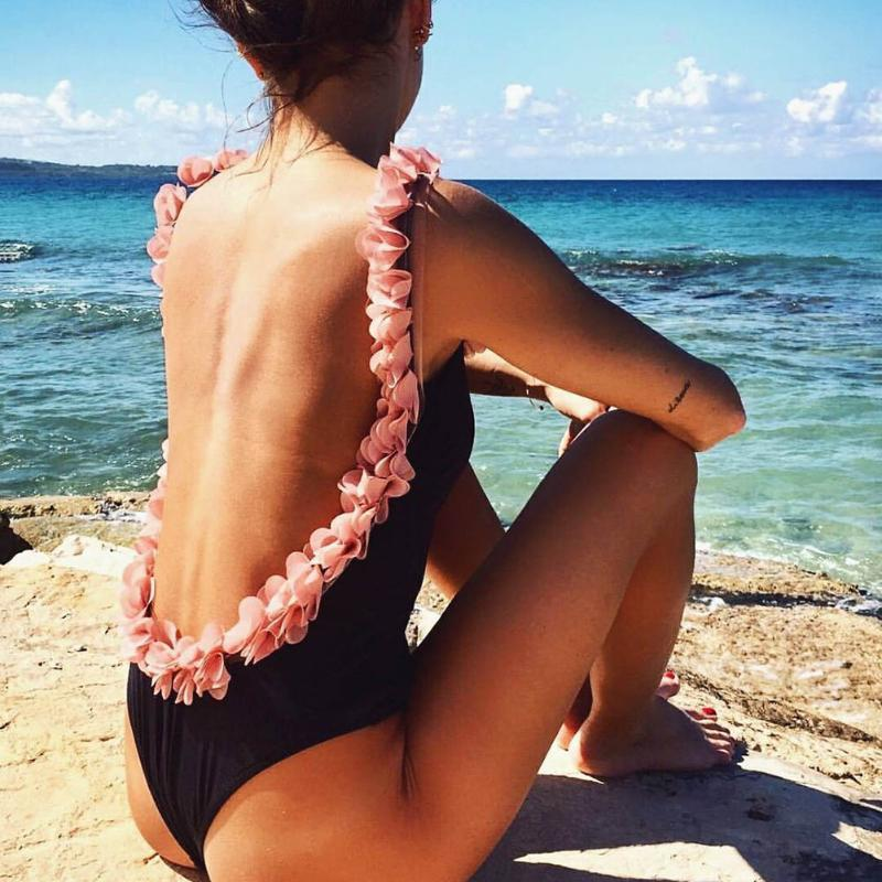 2018 Sexy Women One Piece Swimsuit 3D Flower Strap Backless Wirless Bodysuit Bikini Swimsuit Bathing Suit Summer Beachwear-Dress-SheSimplyShops