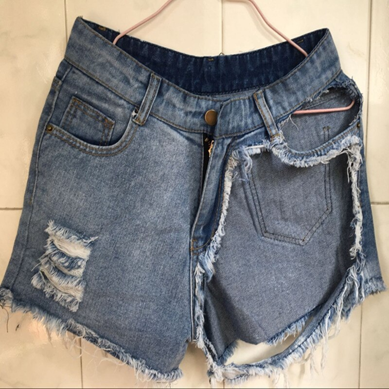 Sexy Hole hotpants Summer high waist Distressed Denim Hot Shorts Women Ripped short pants ladies Vintage Mini booty shorts jeans
