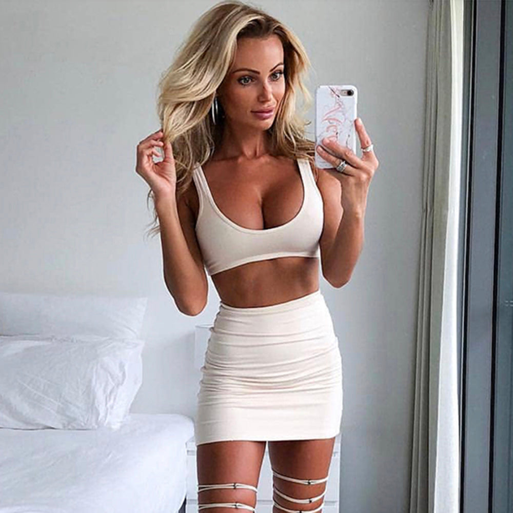 Asia Double Layers Pink Two Piece Set Summer Clothes For Women Two Piece Outfits Short Skirt Set Casual 2 Piece Set