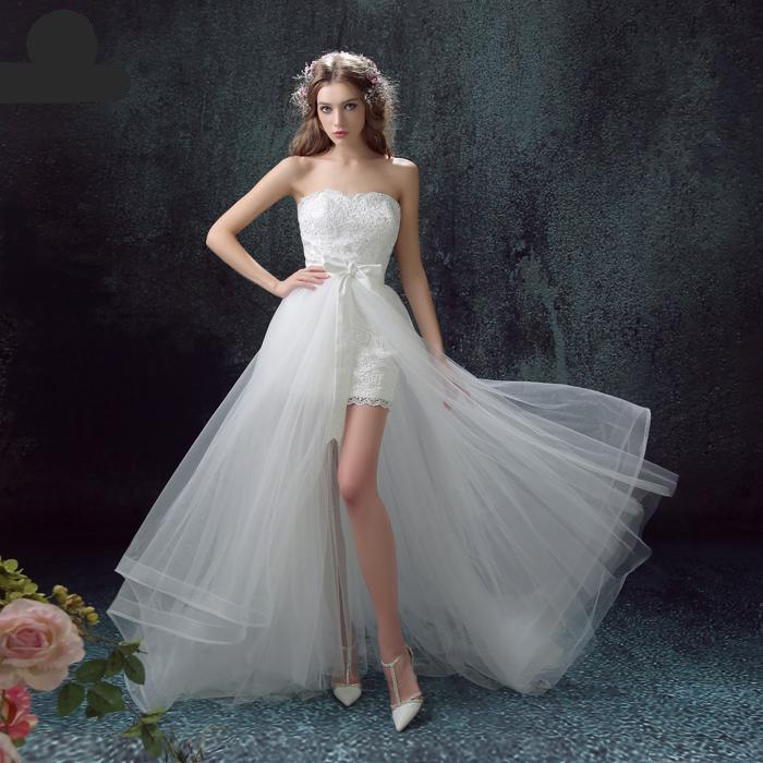 Luxury Lace Wedding Dress Short Front Back Long Detachable Tail Strapless Elegant Wedding Gowns-Dress-SheSimplyShops