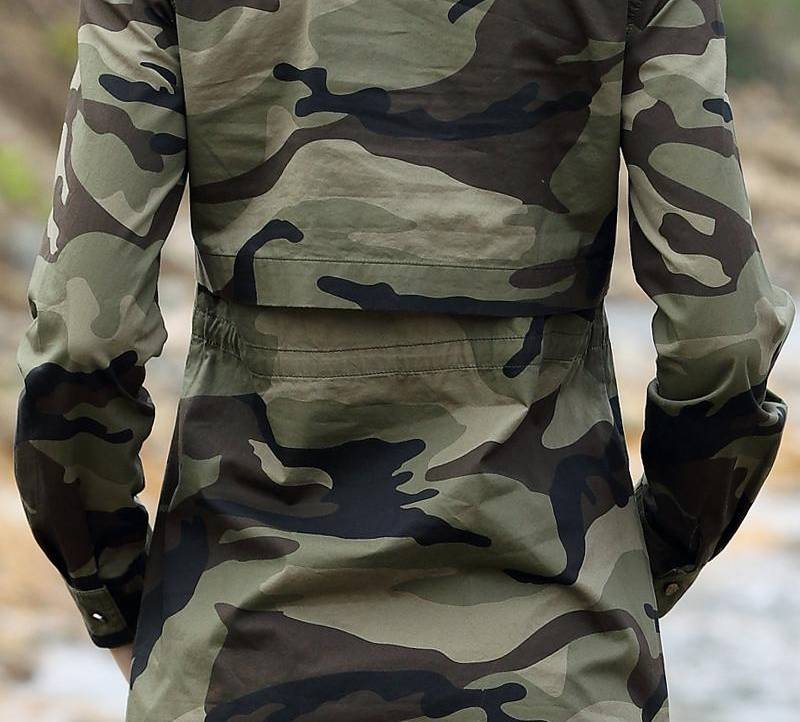 Camouflage Long Section Shirt Women Long Sleeve Clothing Slim Fit Designer Casual Female Shirt