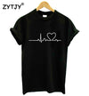 New Women Tshirt Heartbeat Love Heart Print Cotton Casual Funny Shirt For Girl Top Tee Hipster Tumblr Drop Ship ZT203-27