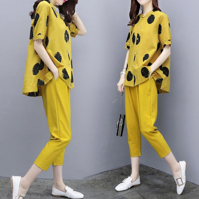 Yellow two pieces summer set summer womens outfits pant suits ladies plus size polka dot tops linen tracksuit clothing