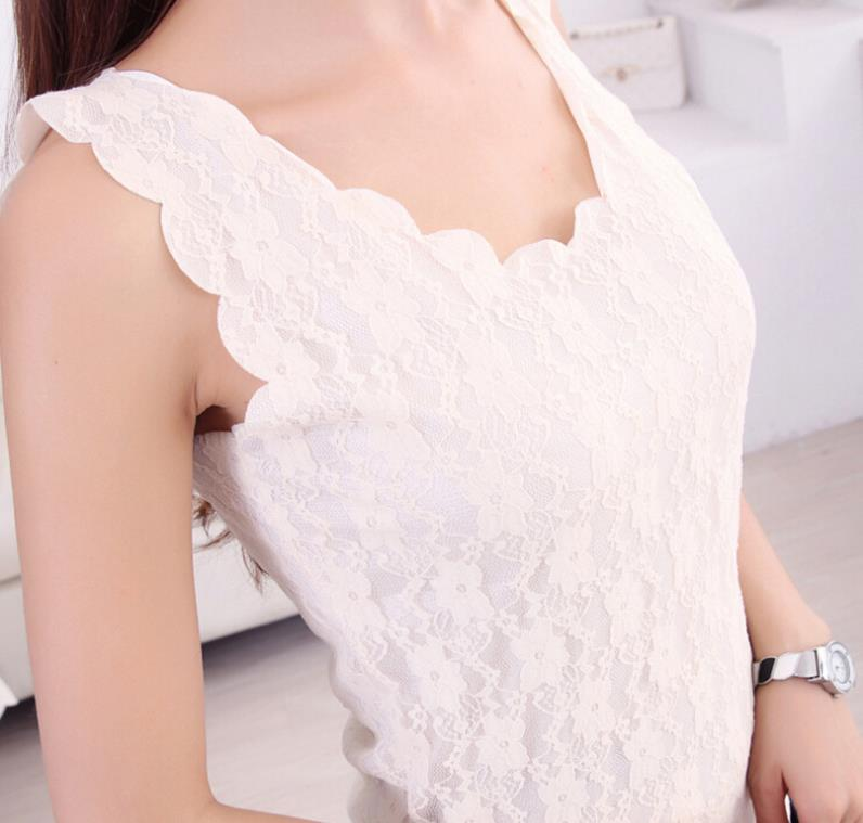 2019 New Fashion Summer Women Sexy Lace Tank Tops Vest Causal Sleeveless Crochet Slim Vest Fitness Crop Top 3 Colors