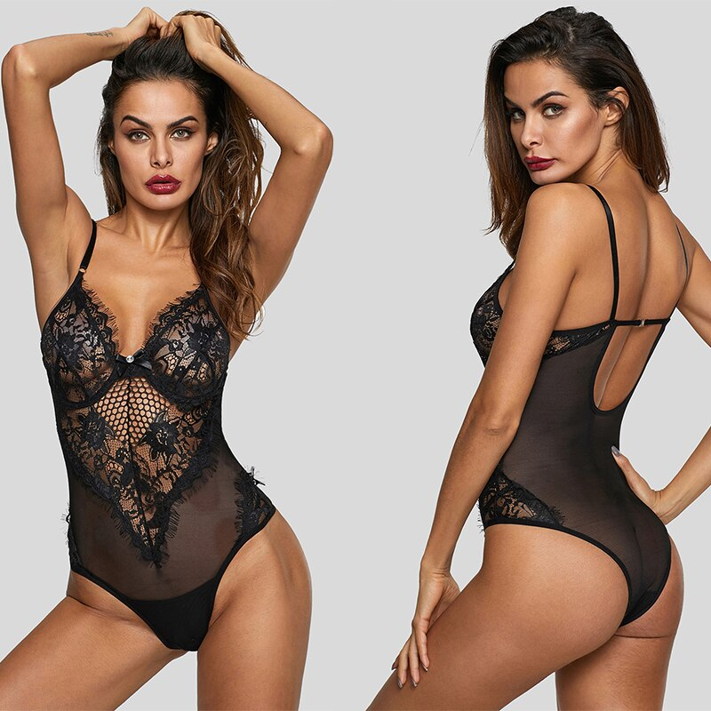 Liva Girl Black Sexy Sheer Mesh Lace Bodysuit Women Backless Cupped Bodycon Rompers 2019 Mujer White Jumpsuits Macacao Feminino
