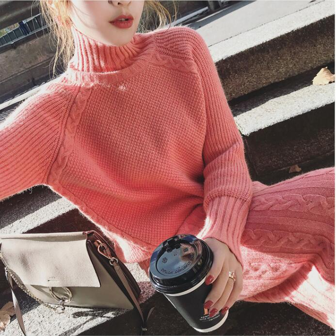 Women New Twist Turtleneck Pullover Sweater and Split Bodycon Skirt Knitted 2 Piece Set Women Casual Female Solid Knitting Suits