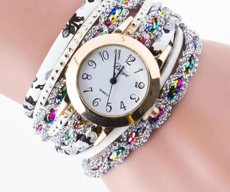 Fashion Synthetic Leather Crystal Watch Women's Bracelet Watches Roman Numeral Relojes
