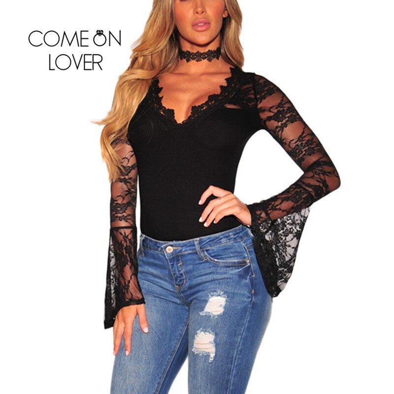 Comeonlover V-neck Bell Long Sleeves Jumpsuits Rompers Plus Size Womens 2018 Jumpsuits Black Mesh Club Lace Bodysuit RI80589