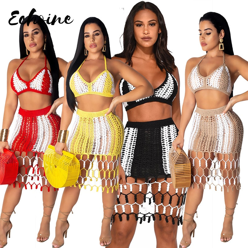 Echoine Sexy Knitting Bandage Bra Tops Mini Skirt 2 Pieces Beach Sets Summer Crochet Halter Tassel Bandage Skirts Suits Outfits