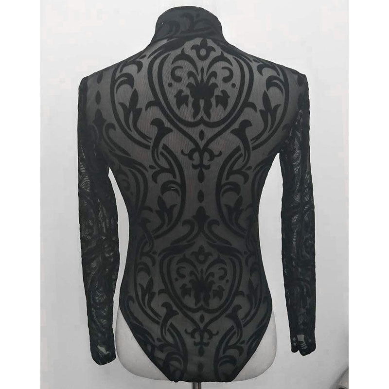 SEBOWEL Black Sheer Mesh Print Long Sleeve Bodysuits Woman New Spring Sexy Style Transparent Female Turtleneck Body Clothes Top
