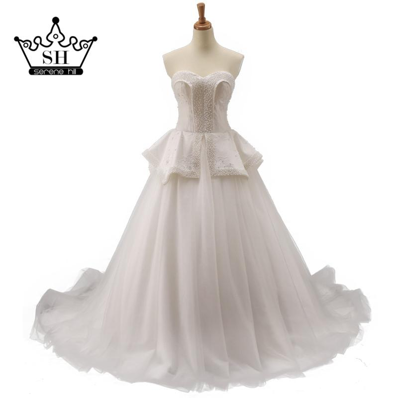 Ball Gown Pearls Belt Lace Bridal Dress Wedding Dresses-Dress-SheSimplyShops