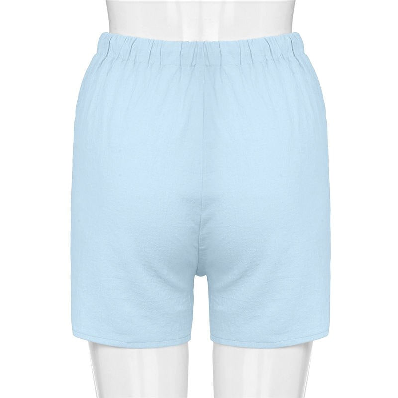 Women Short Pants Casual Linen Cotton Elastic Drawstring Shorts Pants Trousers All-match Loose Casual Short Femme Spodenki Damsk
