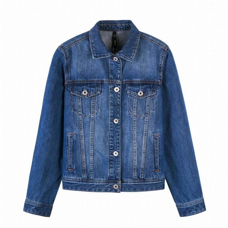 SEMIR Women 100% Cotton Short Denim Jacket with Collar Girl Boyfriend Denim Jacket with Chest Pocket and Slant Pocket Chic