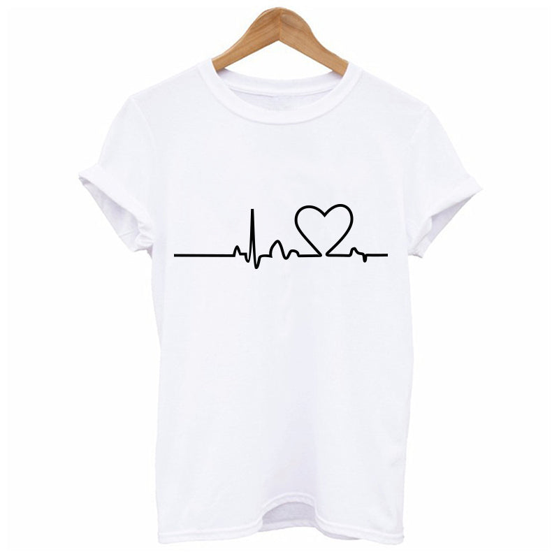 2019 New Large Size New Harajuku Love Printed Women T-shirts Casual Tee Tops Summer Short Sleeve Female T shirt Women Clothing
