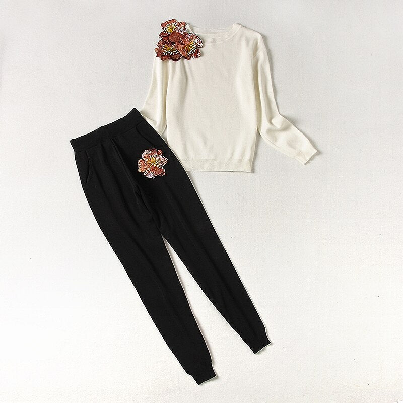 ALPHALMODA New Sequined Flower Sweater + Pants 2pcs Fashion Suits Women Autumn Winter Vogue Stylish Jumpers Trouser Sets