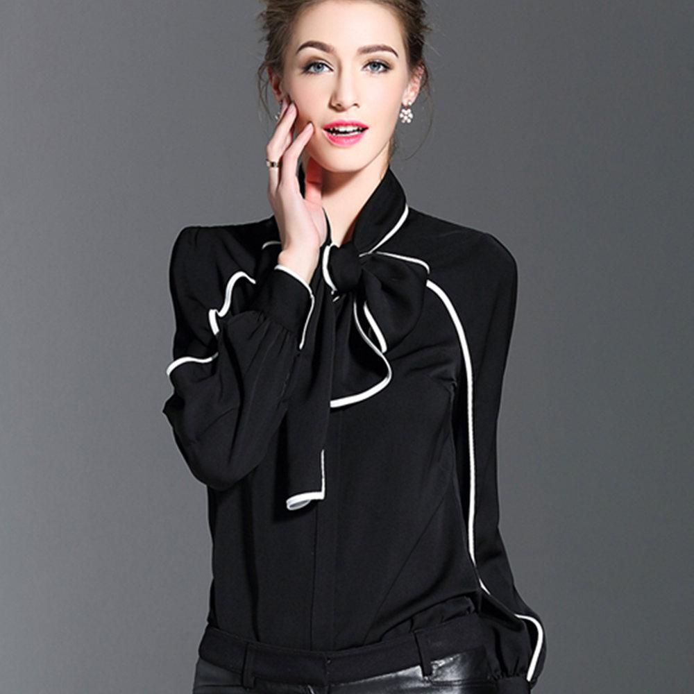 New Fashion Body Shirt Women Shirt Casual Blouse Bow Bodysuit Full Office Lady Coat Blouse Black White-Coats & Jackets-SheSimplyShops