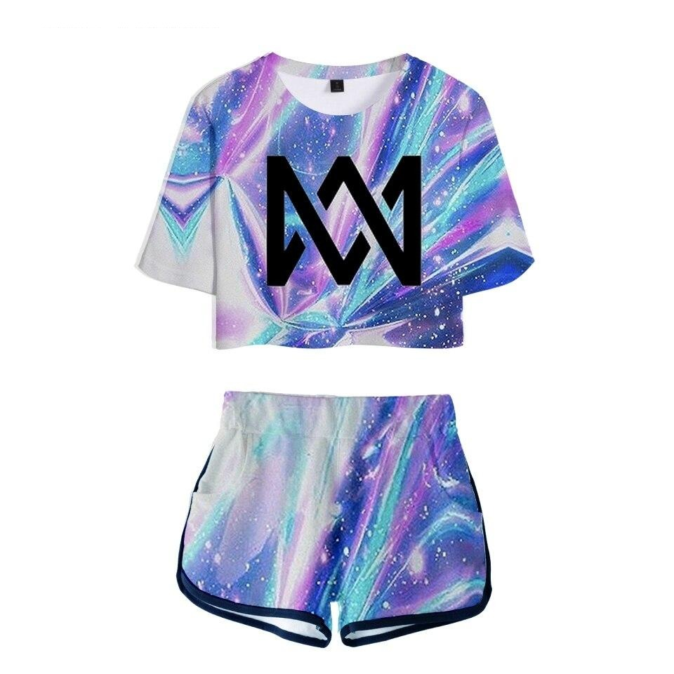 3D Marcus and martinus Leisure Women Sets 2018 New Style Soft Round Collar T-shirt and Short Pants Kpop Clothes