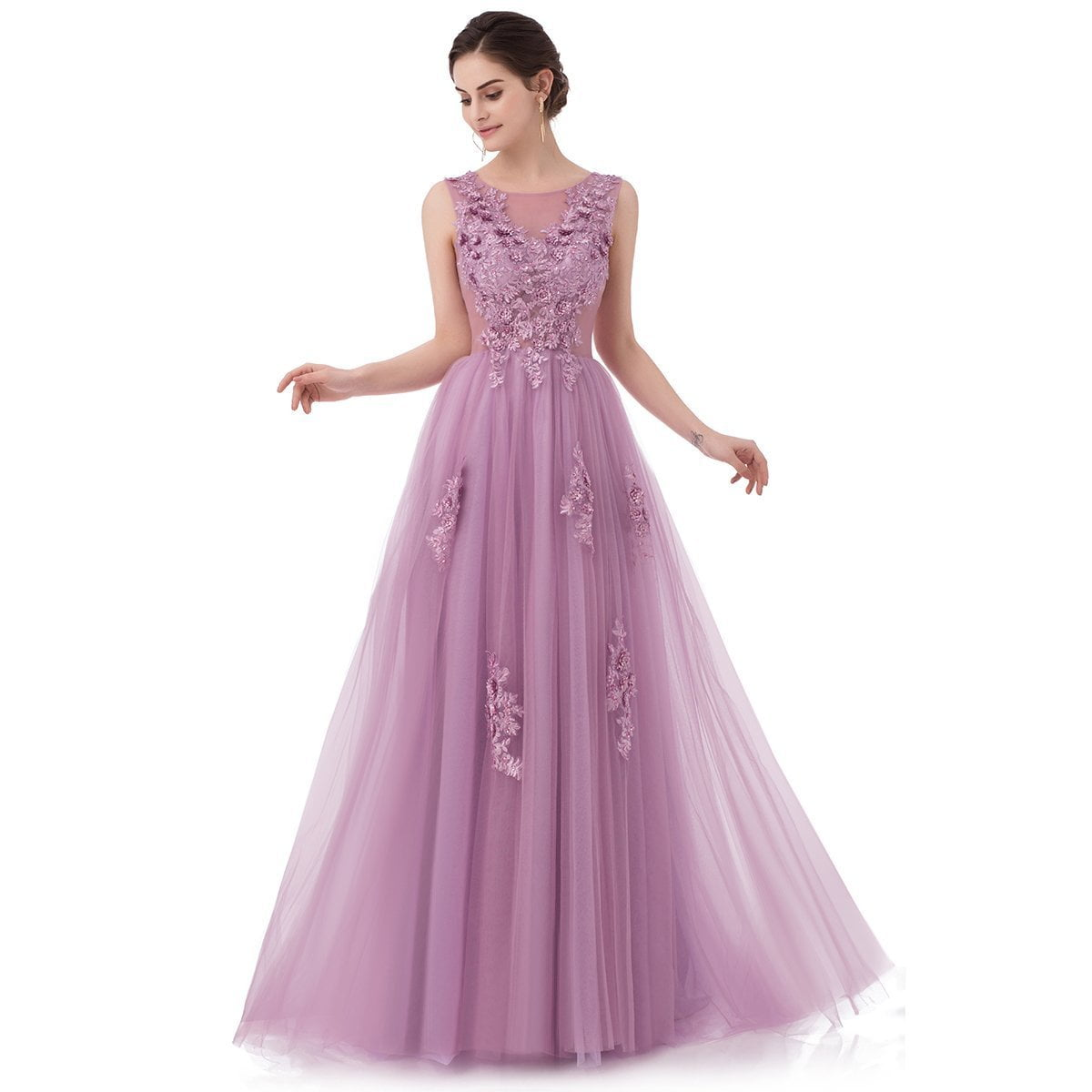 New Sweet Lace Evening Dress Purple Pink Appliques With Beading Sleeveless Floor-length Long Prom Party Gowns-Dress-SheSimplyShops