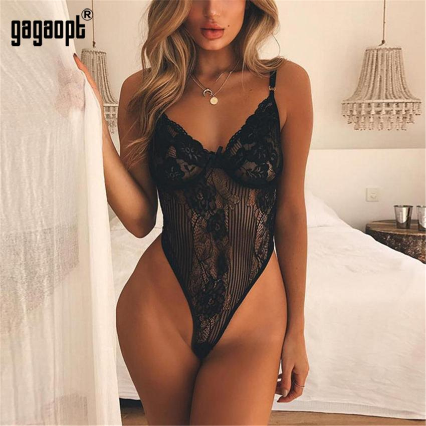 Sexy Bodysuit Women Shoulder Strap Bow Tie Floral Embroidery Hollow Out Lace Bodysuit Black White Romper-ROMPERS & JUMPSUITS-SheSimplyShops