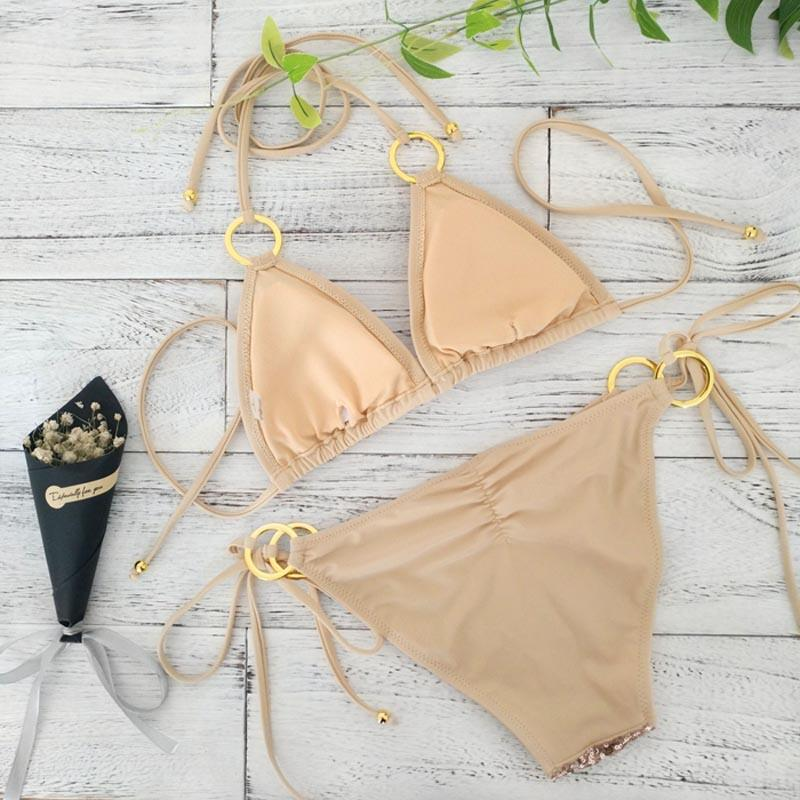 New Sexy Bikinis Sequins Golden Color Women Bandage Bikini Set Push-up Padded Bra Swimsuit Suit Swimwear-SWIMWEAR-SheSimplyShops