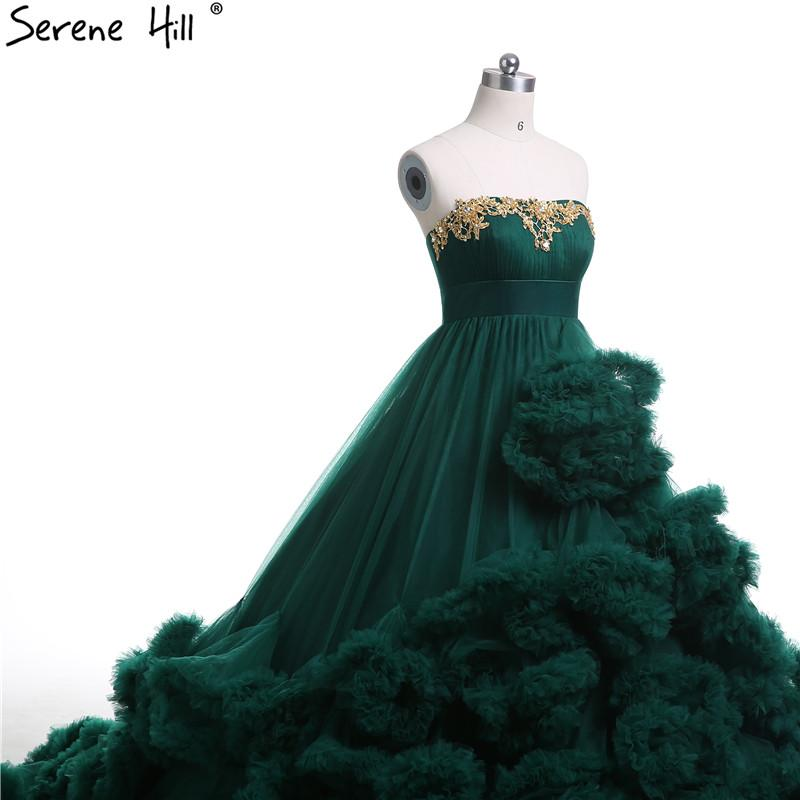 Royal embroidered beading Green Cloud long Train Luxury Wedding Dresses Puffy Ball Gown Wedding Dress-Dress-SheSimplyShops