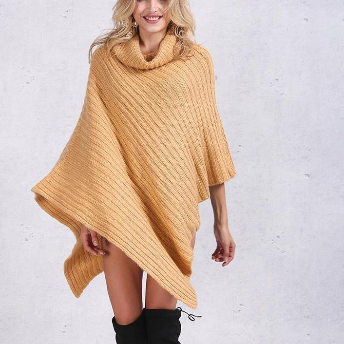 Autumn knitted turtleneck pullovers poncho sweater women Vintage khaki sweater manta Winter thick sweater jumper-Coats & Jackets-SheSimplyShops