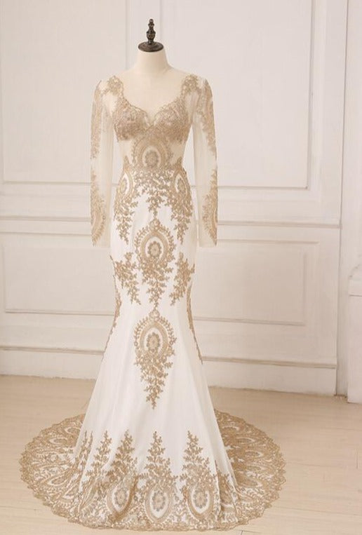 Elegant Gold Applique Long Sleeves Arabic Evening Dresses Sweep Train V-neck Mermaid Party Evening Gowns