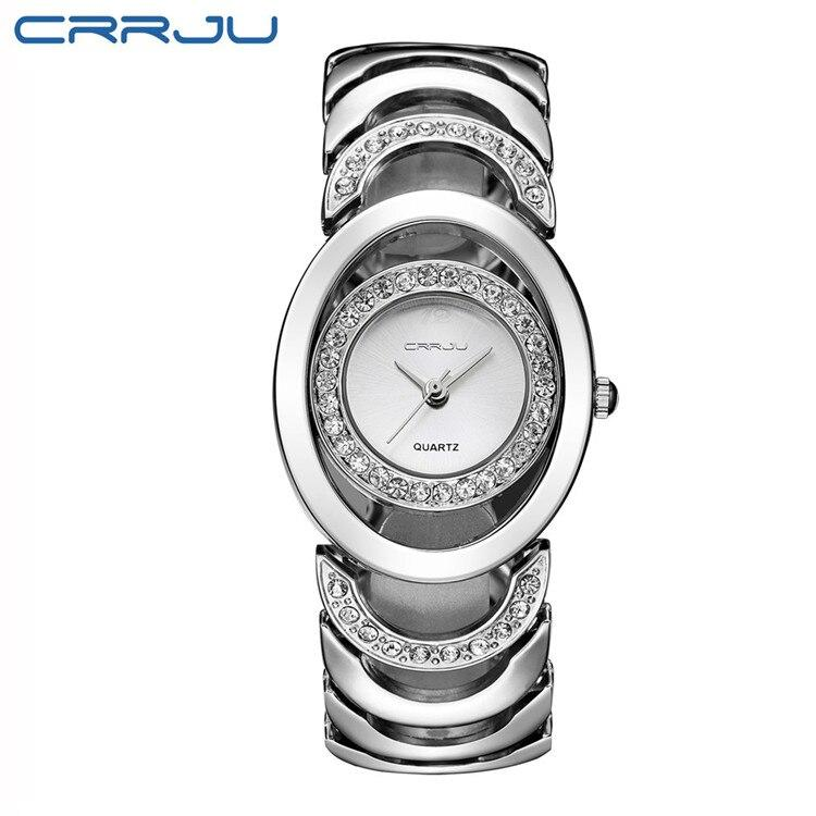 CRRJU Ladies Luxury Gold Quartz Wristwatches Women Famous Rhinestone Watches Relojes Mujer Montre Femme