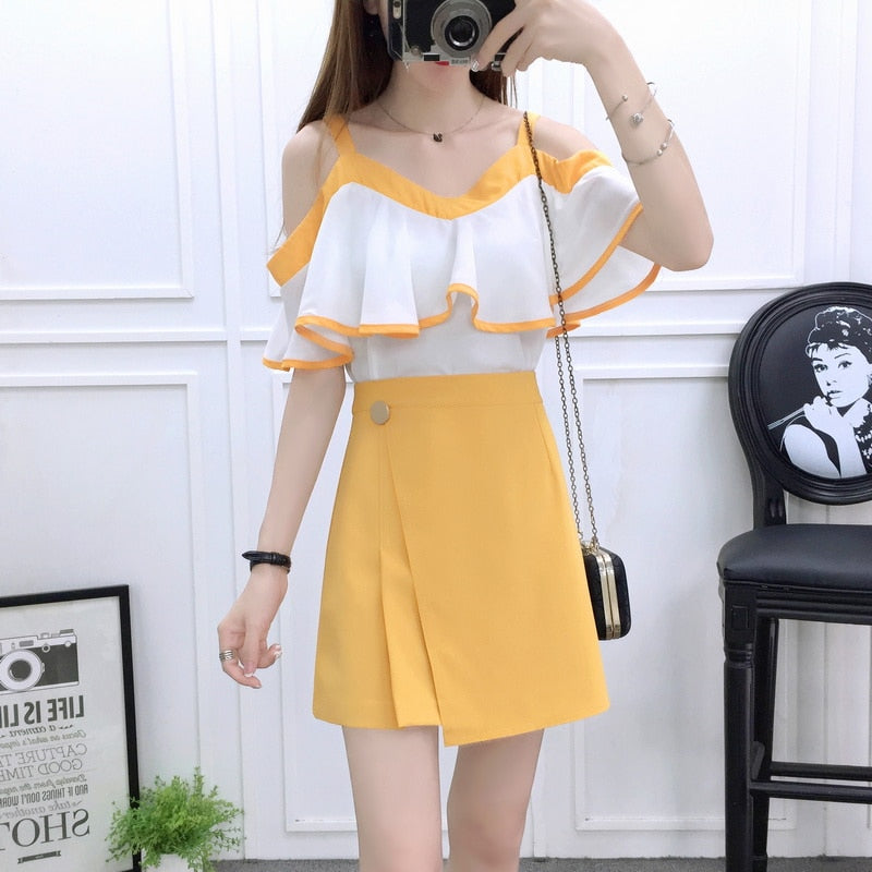 summer new 2019 design fashion girl suits chiffon blouse top & mini skirts  vestidos condole belt skirt two-piece women clothing