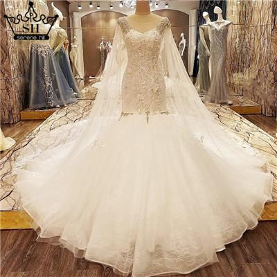 Sleeveless Sexy Mermaid Wedding Dress White Court Train Bridal Wedding Gowns Crystal Beading-Dress-SheSimplyShops