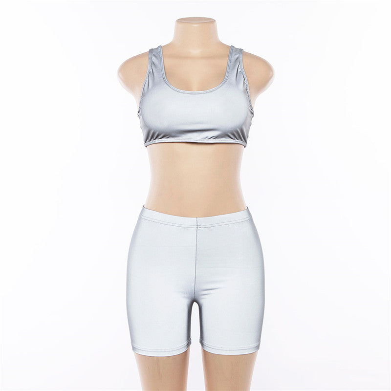 FCCEXIO Ins Reflective Silver Women's Sets New Style Women Sexy Two Sets Top and Shorts Fitness Women Sets Workout Vest & Pants