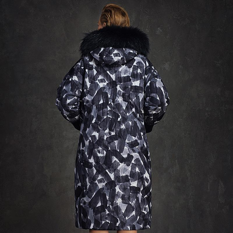New Fashion Down Jacket Super warm cow geometric patterns graphic thickening large fur Hood female-Coats & Jackets-SheSimplyShops