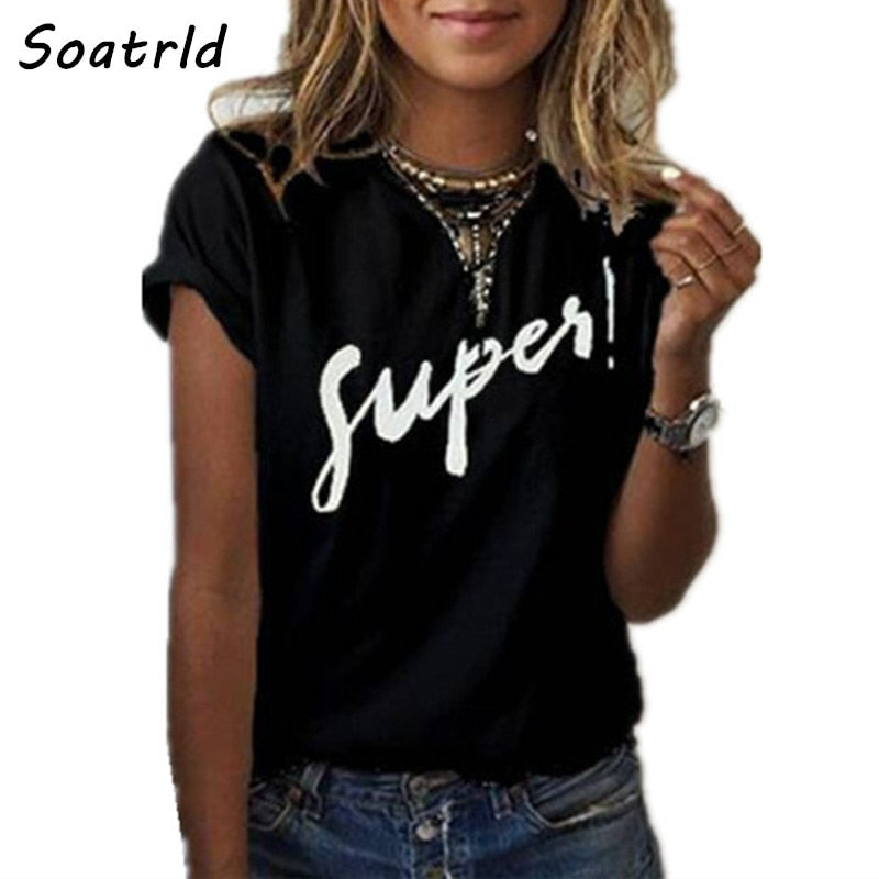 Soatrld 2018 New Women's T-shirt Super Print Summer Short Sleeve O-neck Casual Tee Tops Female T shirt Woman Clothing