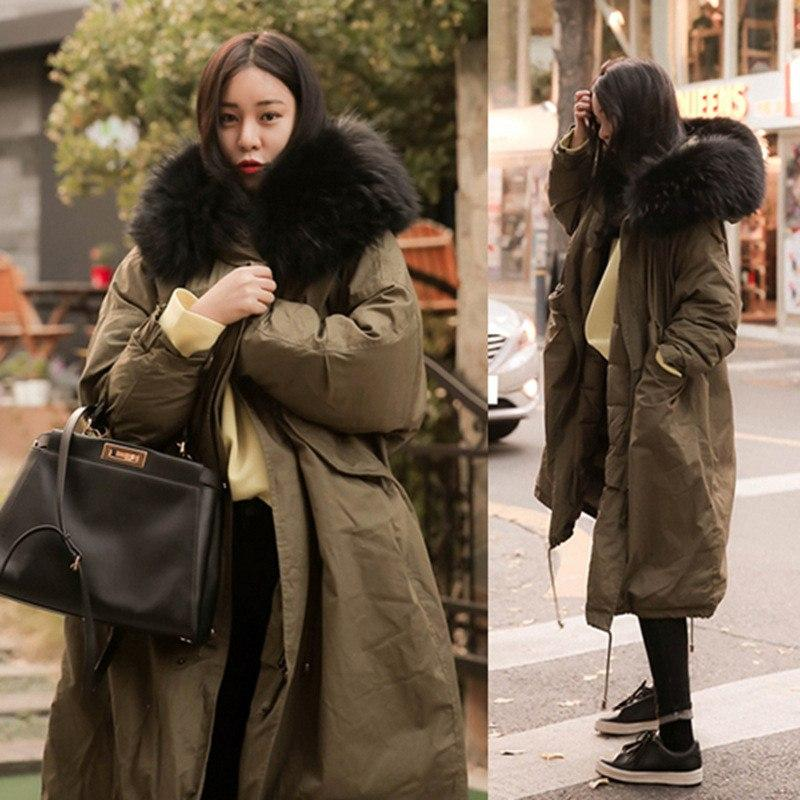 Hirsionsan Winter Coat Women Large Fur Collar Hooded Long Jacket Thicken Warm Korean Padded Parkas 2018 Oversized Military Parka-SheSimplyShops