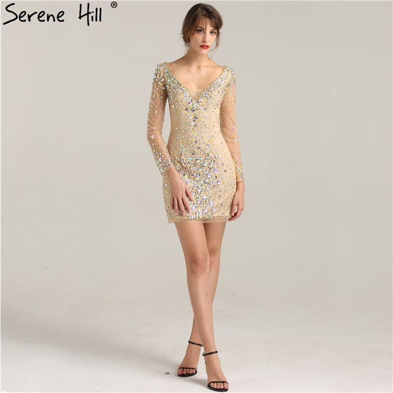 Sexy Diamond Sequined Luxury Short Cocktail Dresses Long Sleeve V-Neck Sexy Evening Party Dresses-Dress-SheSimplyShops