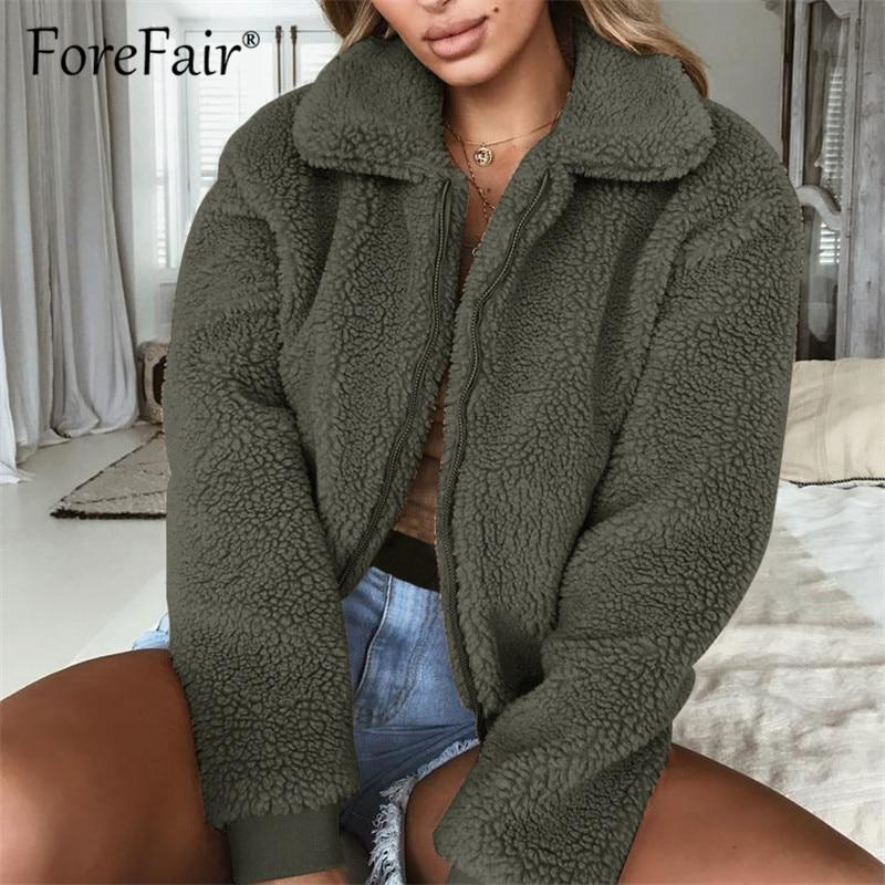 Forefair Teddy Coat Women Clothes Autumn Winter Thick Warm Jacket Outerwear Female Casual Streetwear Plush Faux Fur Coats