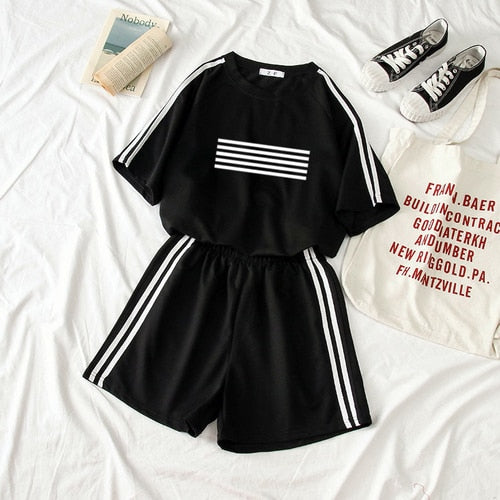 Women Outfits Kpop Tracksuit Woman BIGBANG G-Dragon Printed T-shirt Two Piece Set Top and Pants Summer Set Top Ensemble Femme