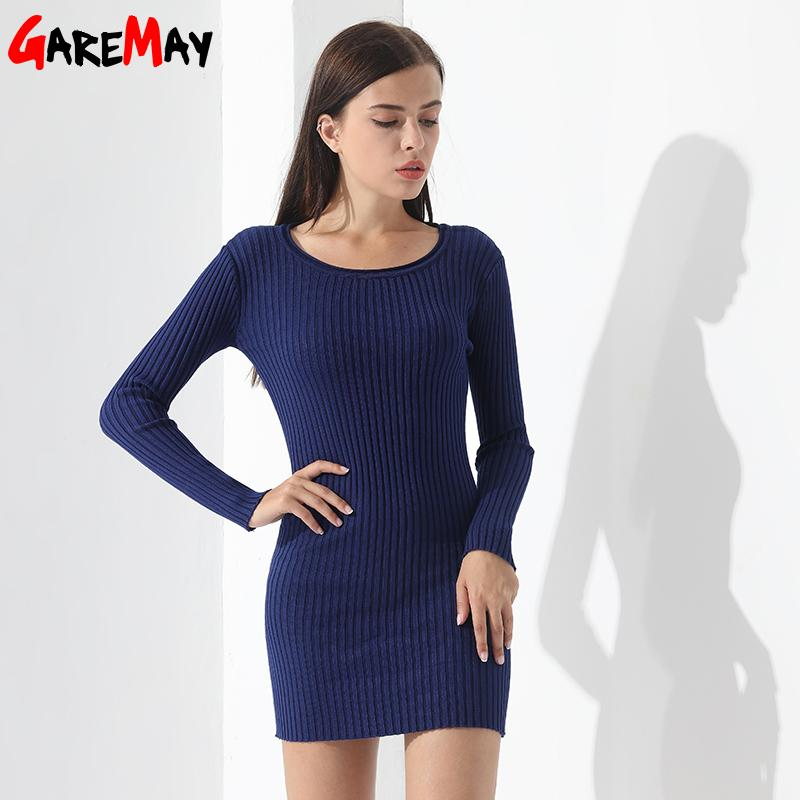 Causal Women Sweater Dress Pullovers O Neck Slim Long Sleeve Sexy Sweater Ladies Elegant Midi Dresses Knitted Sweater-Dress-SheSimplyShops