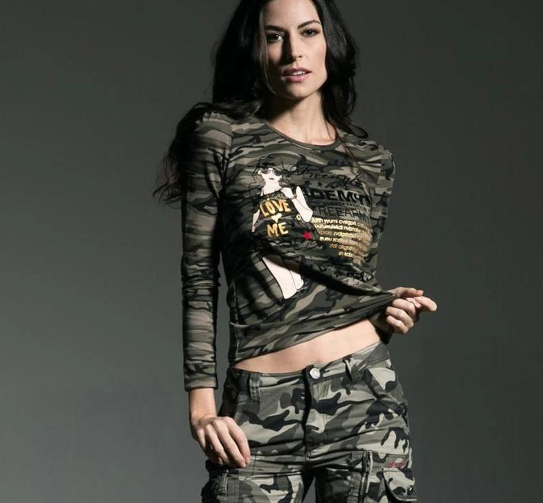 Women Long Sleeve Spring Outdoors Camouflage Spring Autumn Lace Stitching Round Neck-SheSimplyShops