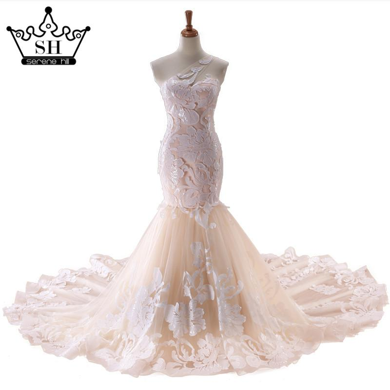 One Shoulder Luxury Mermaid Wedding Dress Appliques Tulle Sexy Long Train Bridal Dress-Dress-SheSimplyShops