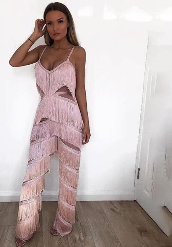 NATTEMAID Sleeveless Backless Off Shoulder Jumpsuit Women 2018 Strapless Casual Sexy Overalls Tassel Summer Bodysuit Romper