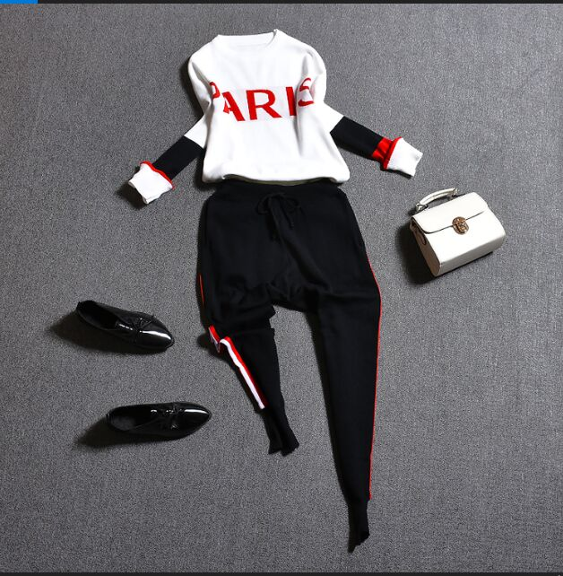 Oshangchaopin Women O-Neck Striped Letter Contrast Color Casual Knitting Sweater+Haroun Pants Tracksuits Clothing Suit