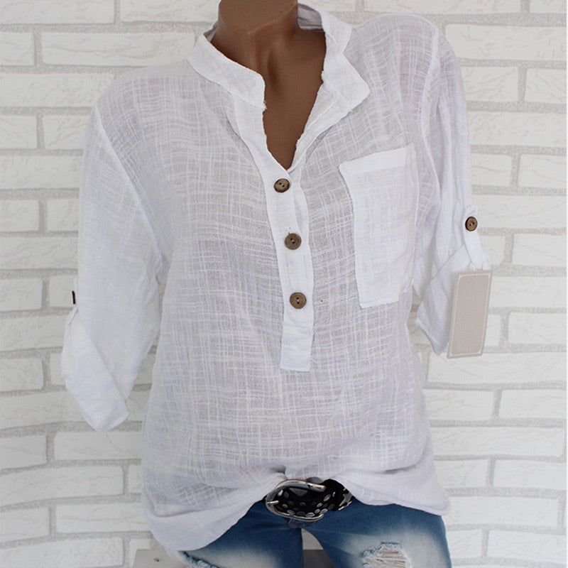 Womens Cotton Linen Stand Collar Shirt Tops Plus Size 5XL White Solid Pocket Womens Shirts Summer Spring Loose Top Female