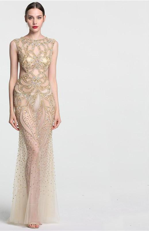 Champagne Transparent Sexy Mermaid Evening Dress Sleeveless Sequined Tulle Evening Gowns-Dress-SheSimplyShops