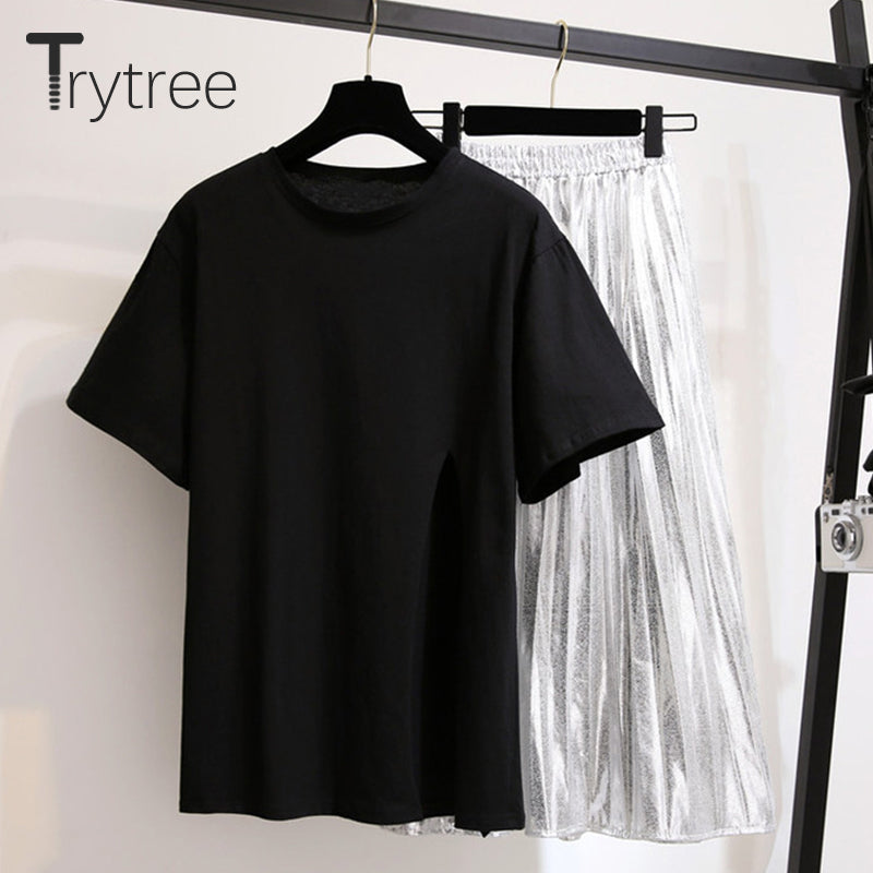 Trytree Spring Summer Women Casual two piece set Casual Fashion Split Hem tops + skirt Silver pleated Solid Suit Set 2 Piece Set
