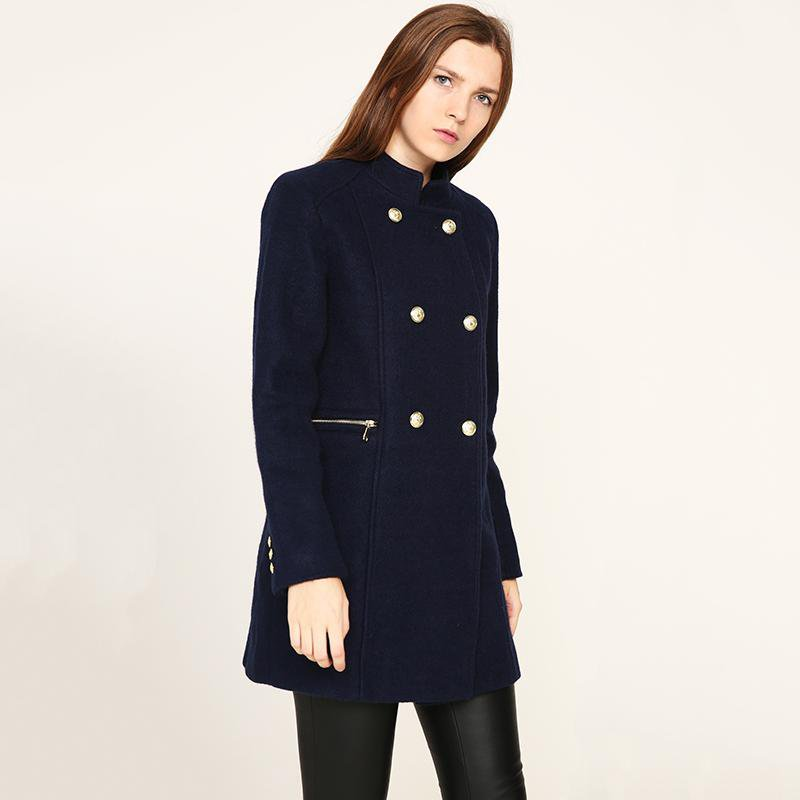 Vogue Winter Coat Navy Coat With Big Fur Collar Warm Long-sleeved Outerwear Overcoat with Button-Coats & Jackets-SheSimplyShops