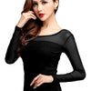 Womens Blouse Shirt Black White Long Casual Long Sleeve Lace Blusas Under Shirts Elastic Tops and Blouses Women