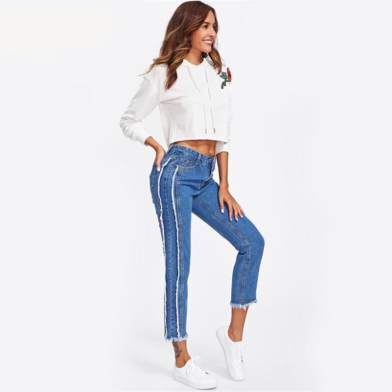 Frayed Trim Mid Waist Tapered Jeans Women Blue Casual Denim Cropped Pants Autumn Zipper Fly Straight Jeans-JEANS-SheSimplyShops