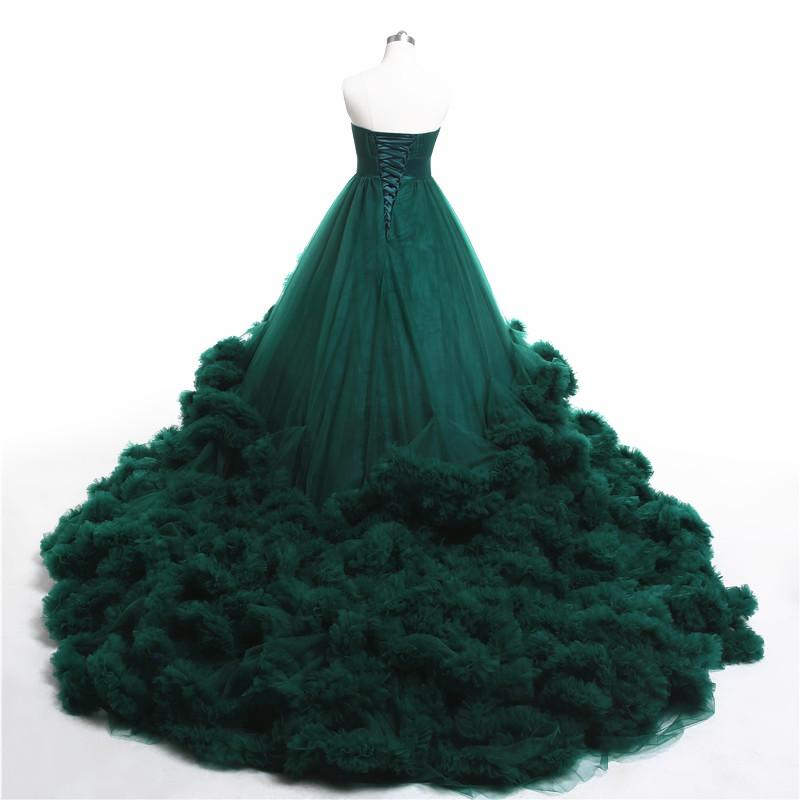 Royal embroidered beading Green Cloud long Train Luxury Wedding Dresses Puffy Ball Gown Wedding Dress Bridal Gowns-Dress-SheSimplyShops